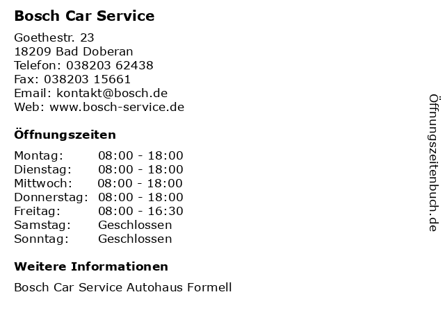 Bosch Car Service in Bad Doberan: Adresse und Öffnungszeiten