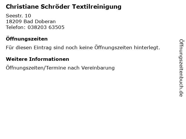 Christiane Schröder Textilreinigung in Bad Doberan: Adresse und Öffnungszeiten