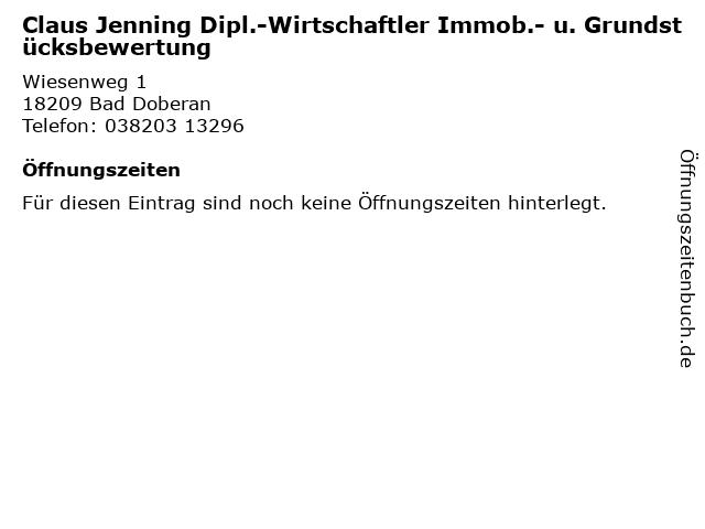 Claus Jenning Dipl.-Wirtschaftler Immob.- u. Grundstücksbewertung in Bad Doberan: Adresse und Öffnungszeiten