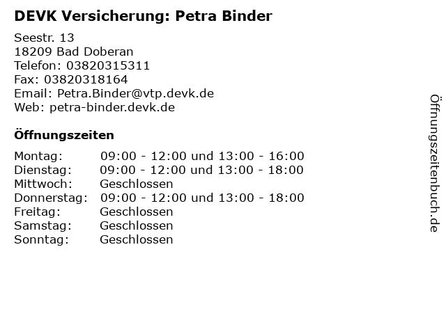 DEVK Versicherung: Petra Binder in Bad Doberan: Adresse und Öffnungszeiten