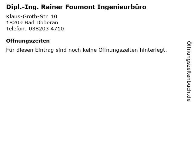 Dipl.-Ing. Rainer Foumont Ingenieurbüro in Bad Doberan: Adresse und Öffnungszeiten