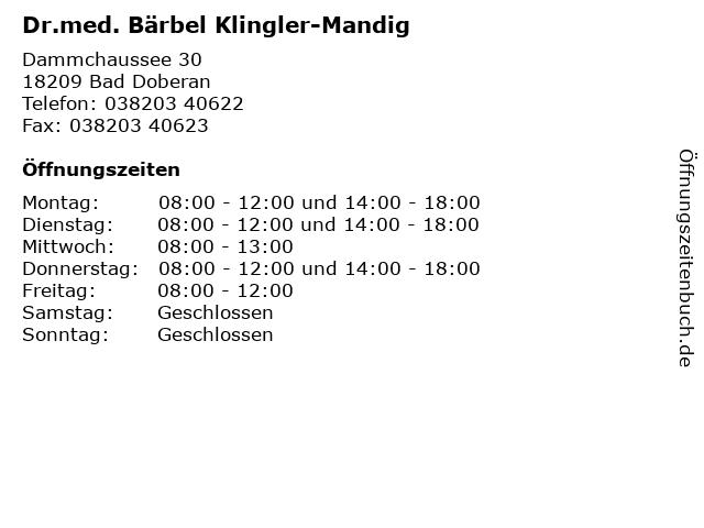 Dr.med. Bärbel Klingler-Mandig in Bad Doberan: Adresse und Öffnungszeiten
