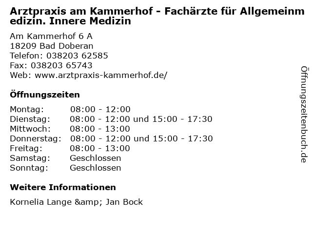 Dr.med. Kornelia Lange in Bad Doberan: Adresse und Öffnungszeiten