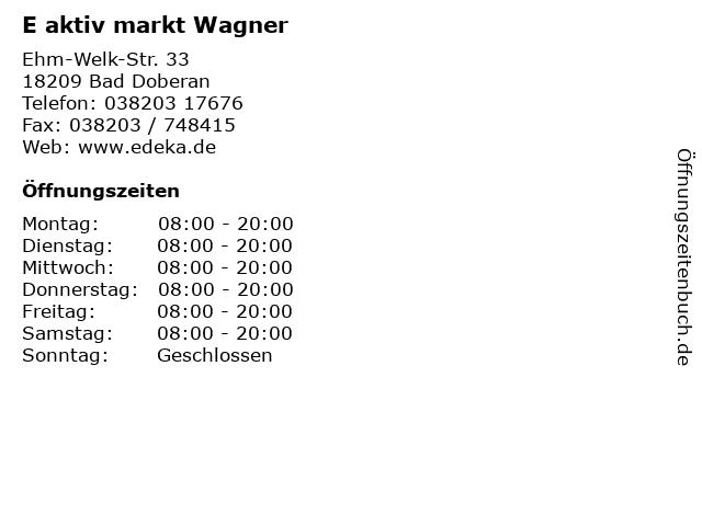 E aktiv markt Wagner in Bad Doberan: Adresse und Öffnungszeiten