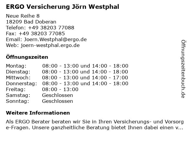 ERGO Versicherung Jörn Westphal in Bad Doberan: Adresse und Öffnungszeiten