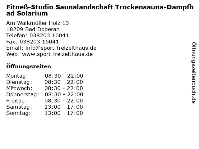 Fitneß-Studio Saunalandschaft Trockensauna-Dampfbad Solarium in Bad Doberan: Adresse und Öffnungszeiten