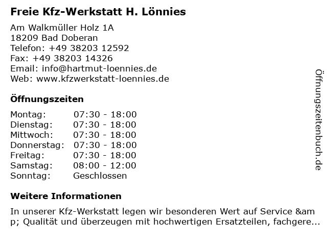 Freie Kfz-Werkstatt H. Lönnies in Bad Doberan: Adresse und Öffnungszeiten