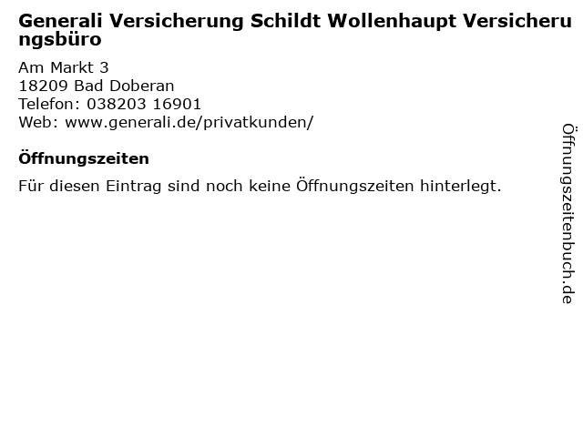 Generali Versicherung Schildt Wollenhaupt Versicherungsbüro in Bad Doberan: Adresse und Öffnungszeiten
