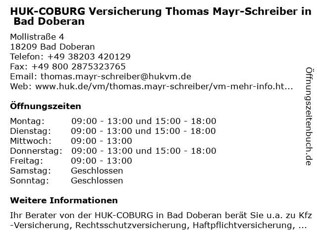 HUK-COBURG Versicherung Thomas Mayr-Schreiber in Bad Doberan in Bad Doberan: Adresse und Öffnungszeiten