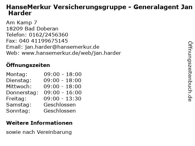 HanseMerkur Versicherungsgruppe - Generalagent Jan Harder in Bad Doberan: Adresse und Öffnungszeiten