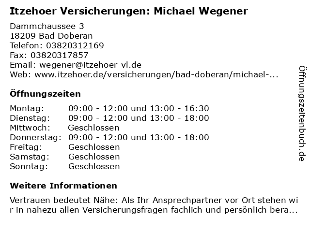 Itzehoer Versicherungen: Michael Wegener in Bad Doberan: Adresse und Öffnungszeiten