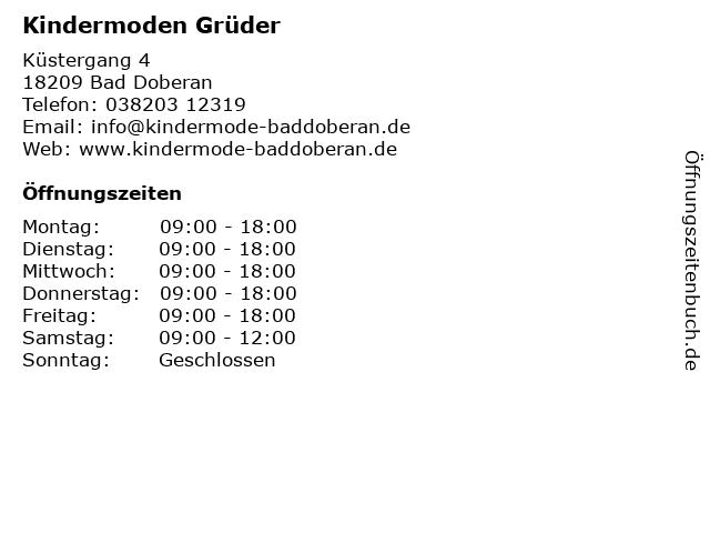 Kindermoden Grüder in Bad Doberan: Adresse und Öffnungszeiten