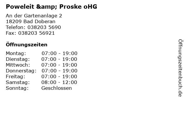 Poweleit & Proske oHG in Bad Doberan: Adresse und Öffnungszeiten