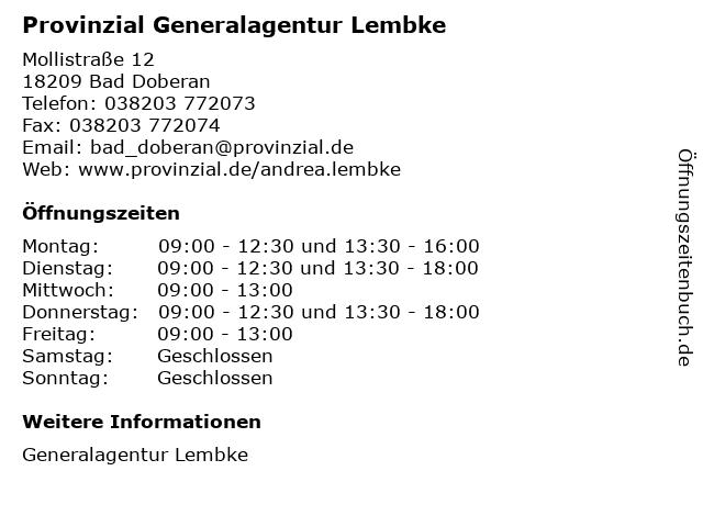 Provinzial Generalagentur Lembke in Bad Doberan: Adresse und Öffnungszeiten