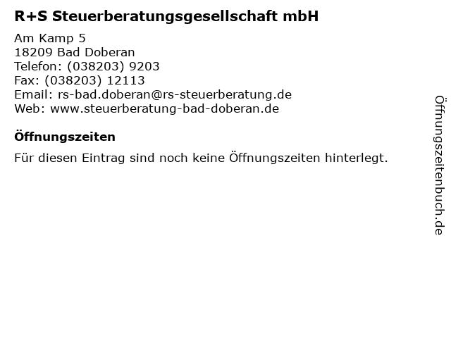 R+S Steuerberatungsgesellschaft mbH in Bad Doberan: Adresse und Öffnungszeiten