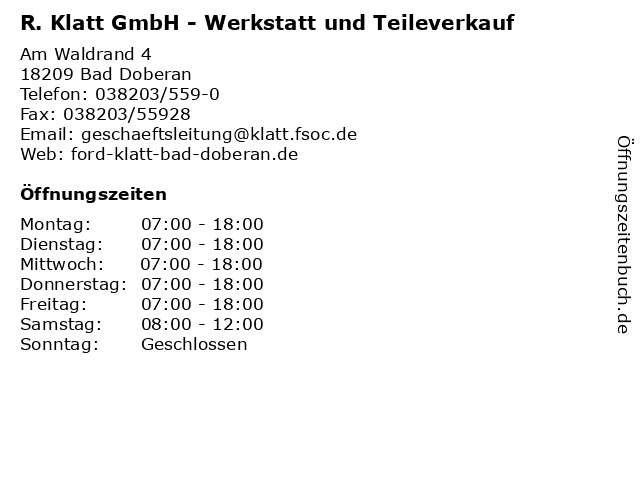 R. Klatt GmbH - Werkstatt und Teileverkauf in Bad Doberan: Adresse und Öffnungszeiten