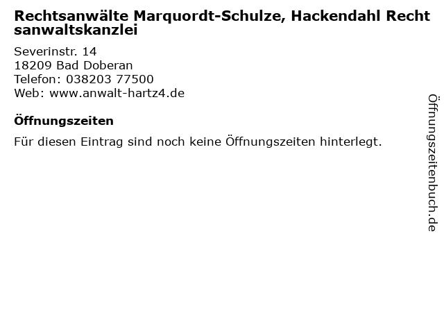 Rechtsanwälte Marquordt-Schulze, Hackendahl Rechtsanwaltskanzlei in Bad Doberan: Adresse und Öffnungszeiten