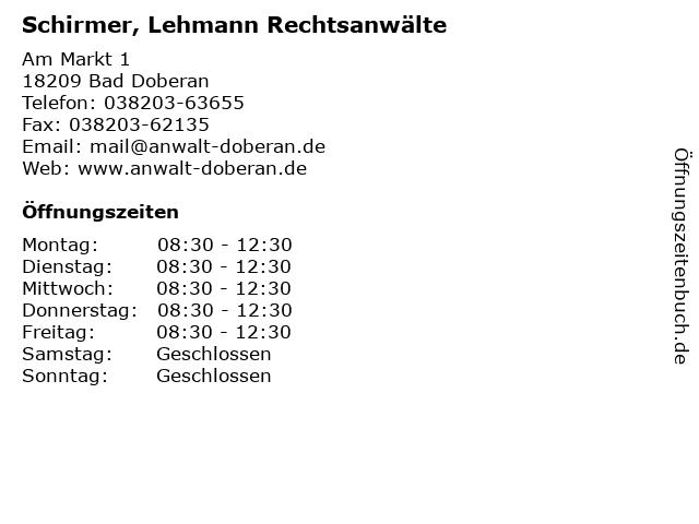 Schirmer, Lehmann Rechtsanwälte in Bad Doberan: Adresse und Öffnungszeiten