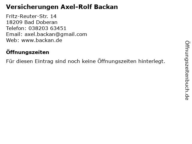 Versicherungen Axel-Rolf Backan in Bad Doberan: Adresse und Öffnungszeiten