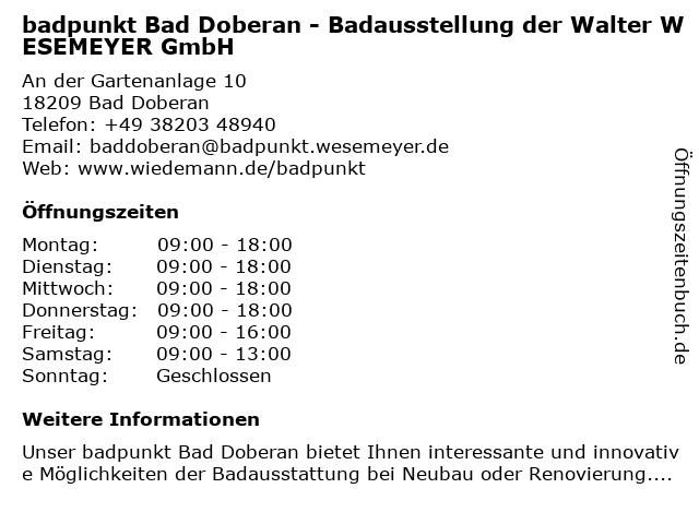 WESEMEYER Badausstellung in Bad Doberan: Adresse und Öffnungszeiten