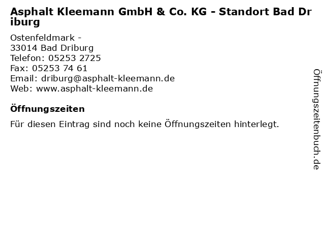 Asphalt Kleemann GmbH & Co. KG - Standort Bad Driburg in Bad Driburg: Adresse und Öffnungszeiten