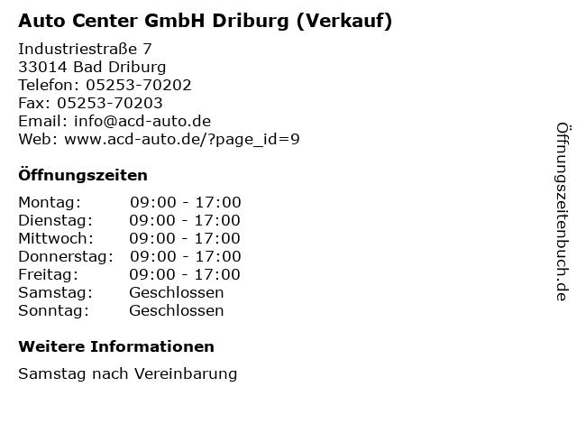 Auto Center GmbH Driburg (Verkauf) in Bad Driburg: Adresse und Öffnungszeiten