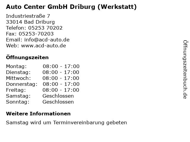 Auto Center GmbH Driburg (Werkstatt) in Bad Driburg: Adresse und Öffnungszeiten