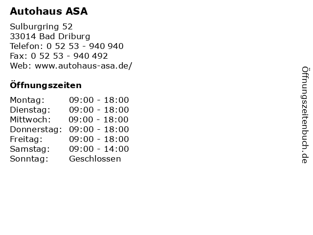 Autohaus ASA in Bad Driburg: Adresse und Öffnungszeiten