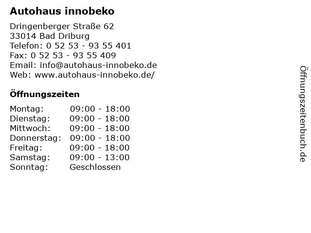 Autohaus innobeko in Bad Driburg: Adresse und Öffnungszeiten