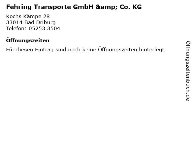 Fehring Transporte GmbH & Co. KG in Bad Driburg: Adresse und Öffnungszeiten