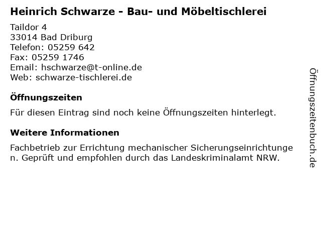 Heinrich Schwarze - Bau- und Möbeltischlerei in Bad Driburg: Adresse und Öffnungszeiten