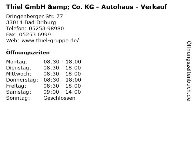 Thiel GmbH & Co. KG - Autohaus - Verkauf in Bad Driburg: Adresse und Öffnungszeiten