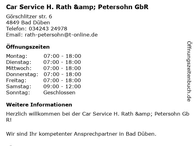 Car Service H. Rath & Petersohn GbR in Bad Düben: Adresse und Öffnungszeiten