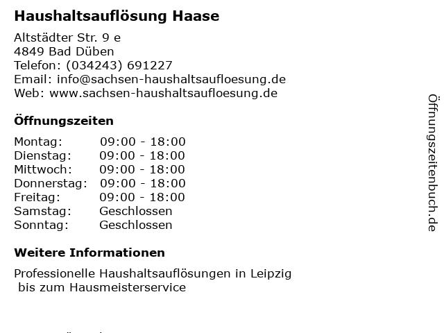 Haushaltsauflösung Haase in Bad Düben: Adresse und Öffnungszeiten