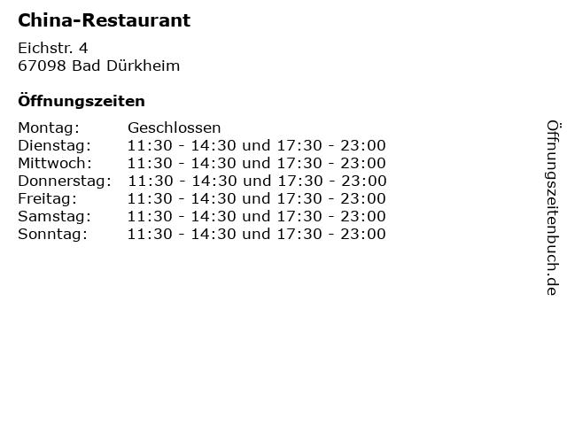China-Restaurant in Bad Dürkheim: Adresse und Öffnungszeiten