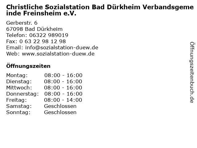 Christliche Sozialstation Bad Dürkheim Verbandsgemeinde Freinsheim e.V. in Bad Dürkheim: Adresse und Öffnungszeiten