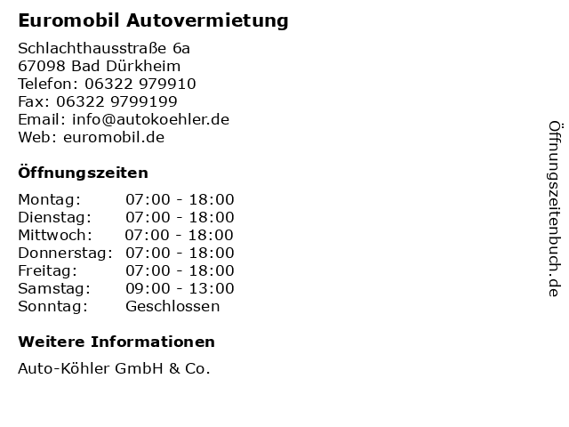 Euromobil Autovermietung in Bad Dürkheim: Adresse und Öffnungszeiten