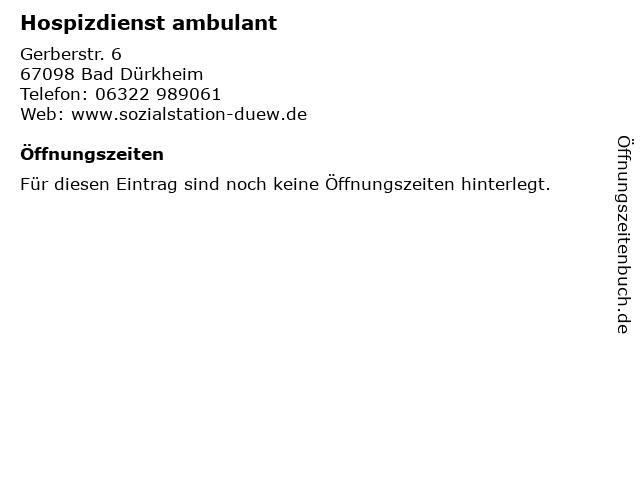 Hospizdienst ambulant in Bad Dürkheim: Adresse und Öffnungszeiten