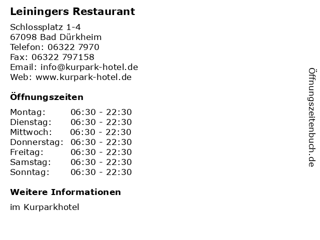 Leiningers Restaurant in Bad Dürkheim: Adresse und Öffnungszeiten