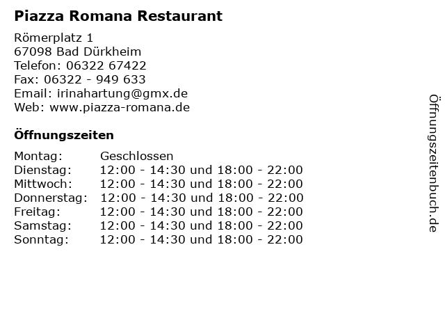 Piazza Romana Restaurant in Bad Dürkheim: Adresse und Öffnungszeiten