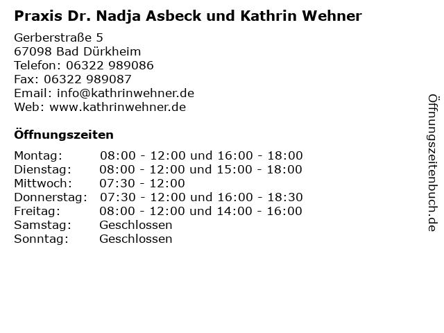 Praxis Dr. Nadja Asbeck und Kathrin Wehner in Bad Dürkheim: Adresse und Öffnungszeiten