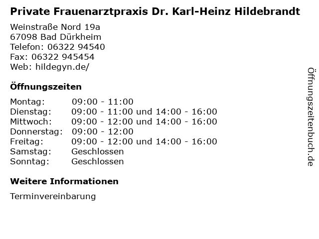 Private Frauenarztpraxis Dr. Karl-Heinz Hildebrandt in Bad Dürkheim: Adresse und Öffnungszeiten