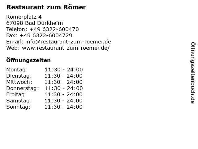 Restaurant zum Römer in Bad Dürkheim: Adresse und Öffnungszeiten