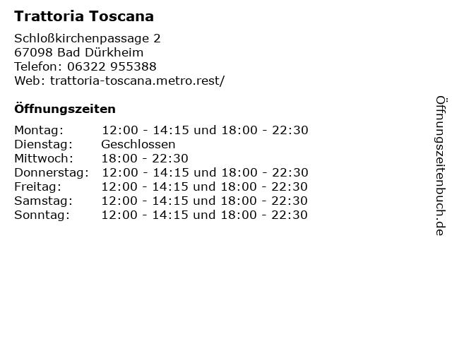 Trattoria Toscana in Bad Dürkheim: Adresse und Öffnungszeiten