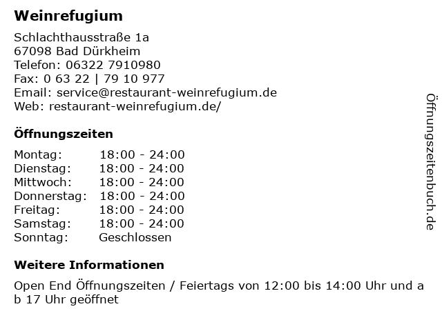 Weinrefugium in Bad Dürkheim: Adresse und Öffnungszeiten