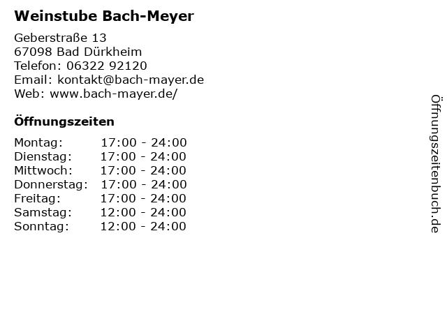 Weinstube Bach-Meyer in Bad Dürkheim: Adresse und Öffnungszeiten