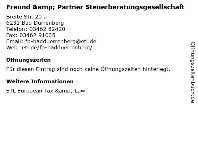 Freund & Partner Steuerberatungsgesellschaft in Bad Dürrenberg: Adresse und Öffnungszeiten