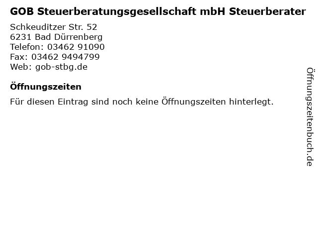 GOB Steuerberatungsgesellschaft mbH Steuerberater in Bad Dürrenberg: Adresse und Öffnungszeiten