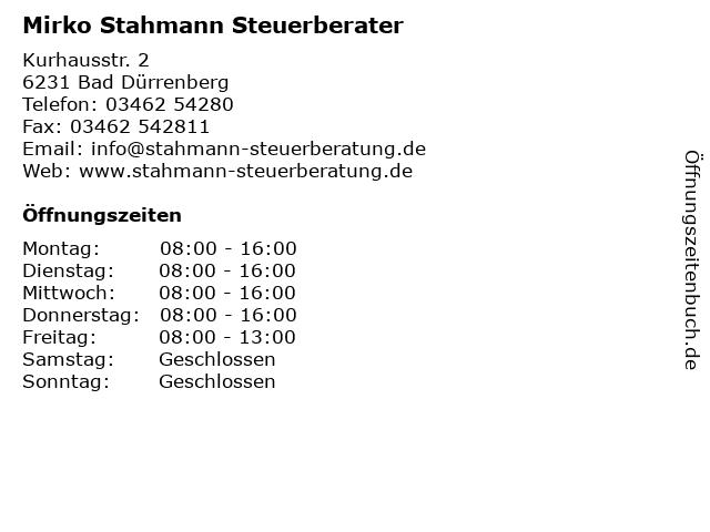 Mirko Stahmann Steuerberater in Bad Dürrenberg: Adresse und Öffnungszeiten