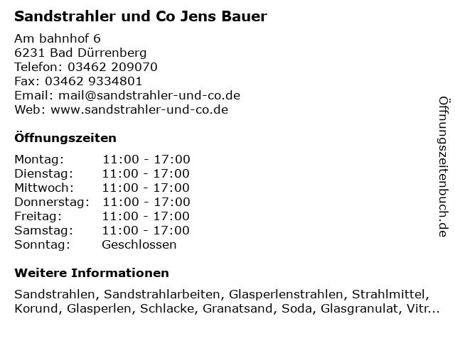 Sandstrahler & Co in Bad Dürrenberg: Adresse und Öffnungszeiten